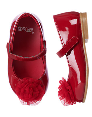 Holiday Red Tulle Rosette Patent Flat by Gymboree