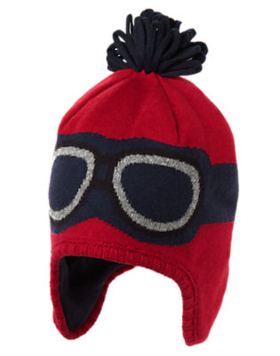 Toddler Boys Holiday Red Pilot Earflap Sweater Hat by Gymboree