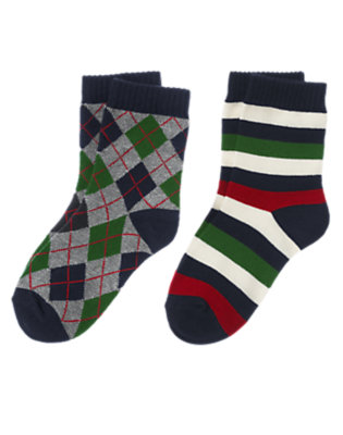 Gym Navy Argyle Stripe Sock Two-Pack by Gymboree