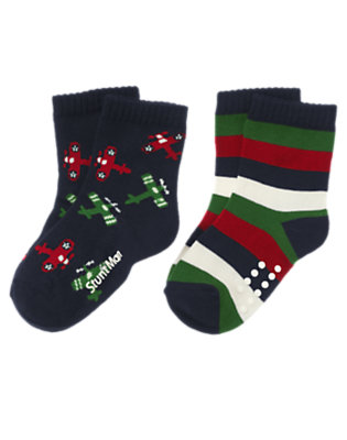 Gym Navy Airplane Stripe Sock Two-Pack by Gymboree