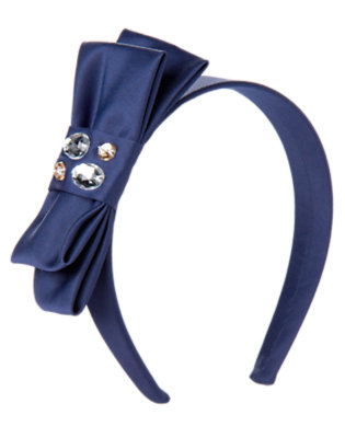 Girls Midnight Blue Gem Satin Bow Headband by Gymboree