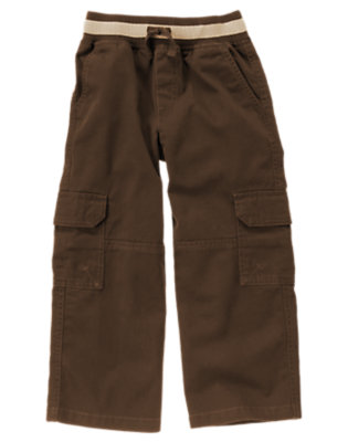 Chocolate Brown Drawstring Cargo Pant by Gymboree
