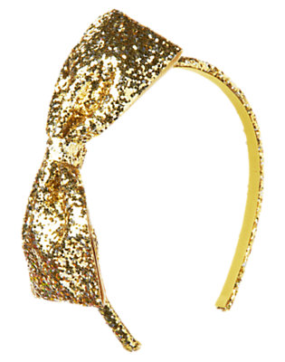 Glitter Gold Glitter Bow Headband by Gymboree