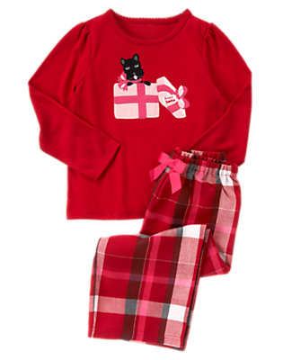 Girls Holiday Red Plaid Scottie Dog Present Two-Piece Pajama Set by Gymboree