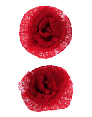 Toddler Girls Holiday Red Tulle Rosette Hair Clip Two-Pack by Gymboree