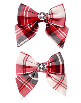 Toddler Girls Holiday Red Plaid Gem Plaid Bow Hair Clip Two-Pack by Gymboree