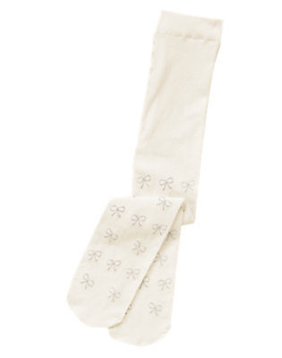 Ivory Glitter Bow Tight by Gymboree