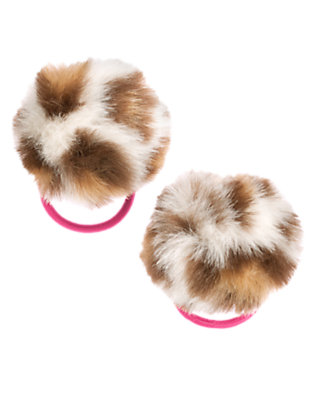 Girls Ivory Leopard Leopard Pom Pom Pony Holder Two-Pack by Gymboree