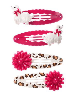 Girls Chic Pink Dog Leopard Snap Clip Four-Pack by Gymboree