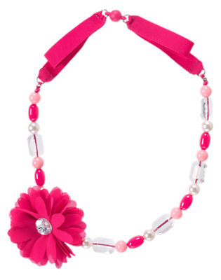 Girls Chic Pink Gem Flower Corsage Necklace by Gymboree