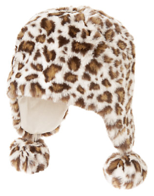 Ivory Leopard Faux Fur Leopard Pom Pom Hat by Gymboree