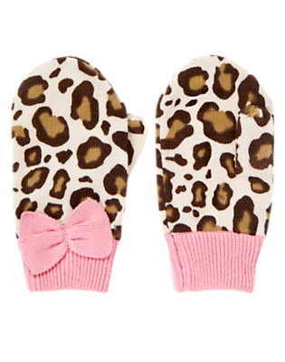 Ivory Leopard Bow Leopard Sweater Mitten by Gymboree