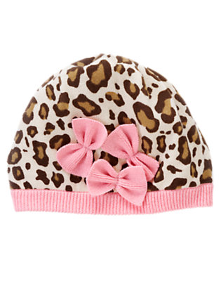 Toddler Girls Ivory Leopard Bow Leopard Sweater Hat by Gymboree