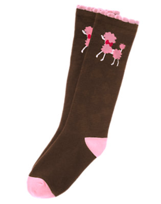 Girls Coco Brown Poodle Knee Sock by Gymboree
