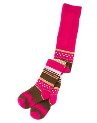 Girls Chic Pink Stripe Stripe Fair Isle Tight by Gymboree