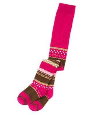 Toddler Girls Chic Pink Stripe Stripe Fair Isle Tight by Gymboree