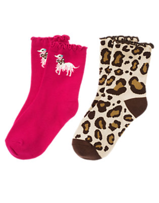Girls Ivory Leopard Leopard Dog Sock Two-Pack by Gymboree
