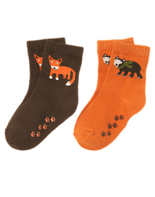 Toddler Boys Orange Bear Fox Sock Two-Pack by Gymboree