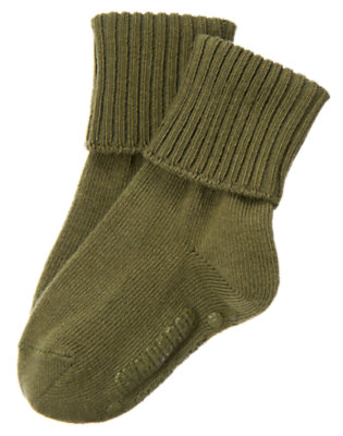 Boys Dark Olive Green Foldover Sock by Gymboree