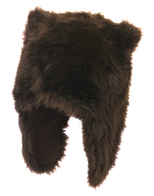 Boys Chocolate Brown Faux Fur Bear Hat by Gymboree