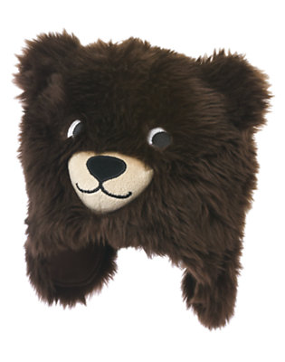 Toddler Boys Chocolate Brown Faux Fur Bear Hat by Gymboree