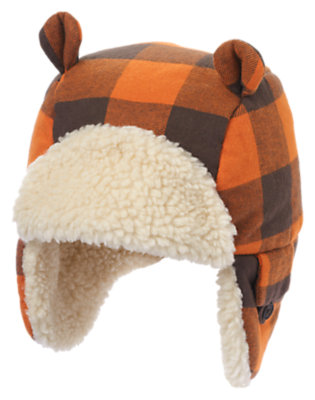 Toddler Boys Orange Check Plaid Flannel Earflap Hat by Gymboree