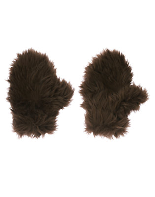 Chocolate Brown Faux Fur Bear Mitten by Gymboree