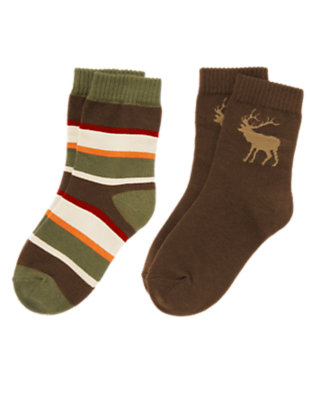 Chocolate Brown Elk Stripe Sock Two-Pack by Gymboree