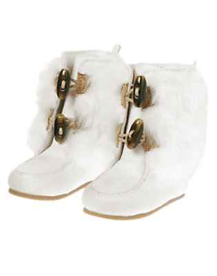 Toddler Girls Winter Ivory Toggle Faux Fur Boot by Gymboree
