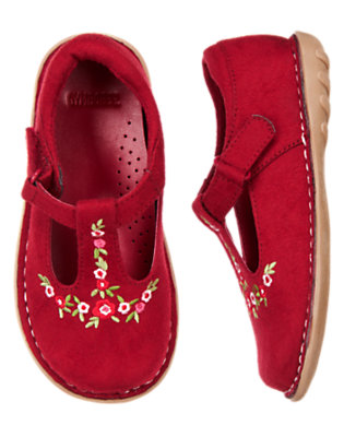 Toddler Girls Cranberry Red Flower Faux Suede T-Strap Shoe by Gymboree