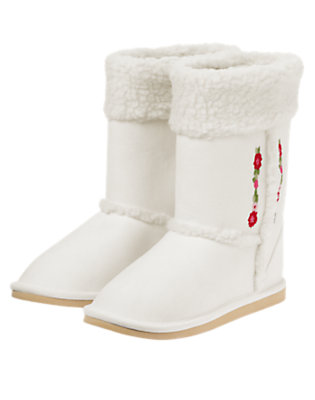 Girls Winter Ivory Embroidered Flower Faux Sherpa Boot by Gymboree