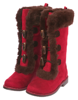 Cranberry Red Toggle Faux Suede Boot by Gymboree