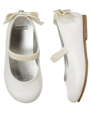 Toddler Girls Winter Ivory Gem Bow Ballet Flat by Gymboree