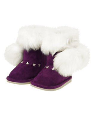 Toddler Girls Princess Purple Pom Pom Faux Fur Boot by Gymboree