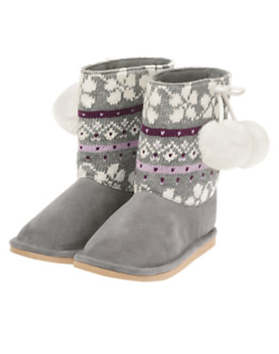 Heather Grey Fair Isle Pom Pom Fair Isle Sweater Boot by Gymboree