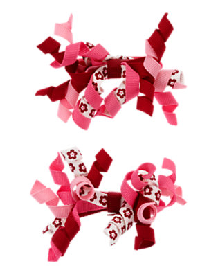Toddler Girls Cranberry Red Flower Hair Curlies Two-Pack by Gymboree