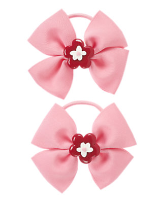 Girls Cozy Pink Flower Bow Pony Holder Two-Pack by Gymboree