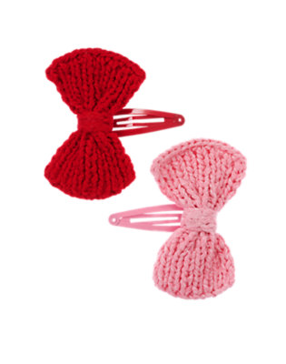Girls Cranberry Red Sweater Bow Hair Clip Two-Pack by Gymboree