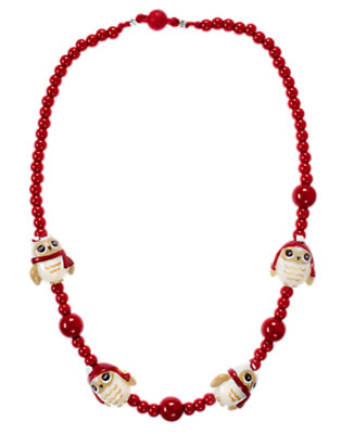 Girls Cranberry Red Owl Bead Necklace by Gymboree