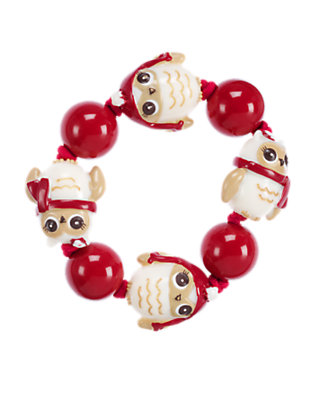 Girls Cranberry Red Owl Bead Bracelet by Gymboree