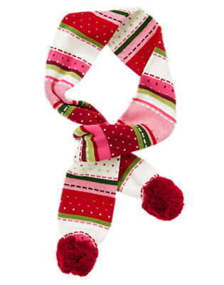 Cranberry Red Fair Isle Pom Pom Fair Isle Sweater Scarf by Gymboree