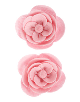 Girls Rose Pink Rose Felt Hair Clip Two-Pack by Gymboree