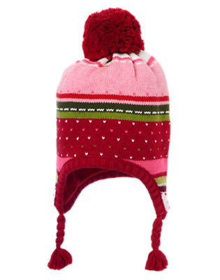 Girls Cranberry Red Fair Isle Pom Pom Fair Isle Sweater Hat by Gymboree