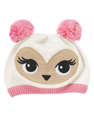 Girls Winter Ivory Pom Pom Owl Sweater Hat by Gymboree