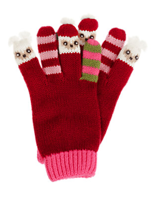 Girls Cranberry Red Owl Sweater Glove by Gymboree