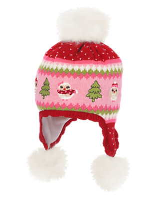 Cranberry Red Fair Isle Pom Pom Owl Fair Isle Sweater Hat by Gymboree