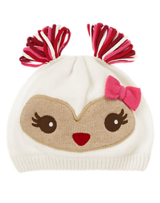 Toddler Girls Winter Ivory Pom Pom Owl Sweater Hat by Gymboree