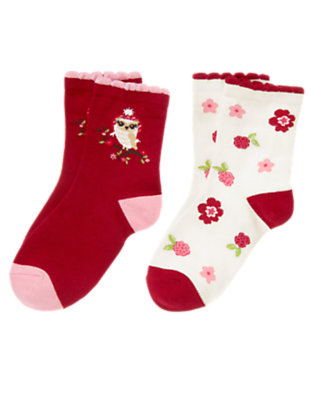 Girls Cranberry Red Owl Flower Sock Two-Pack by Gymboree