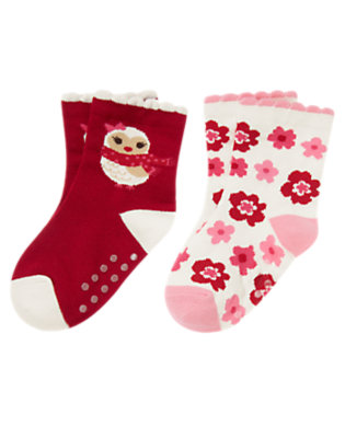 Toddler Girls Cranberry Red Owl Flower Sock Two-Pack by Gymboree