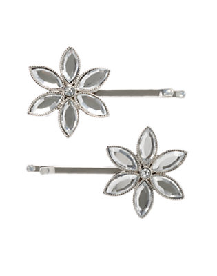 Girls Metallic Silver Gem Snowflake Hair Pin Two-Pack by Gymboree
